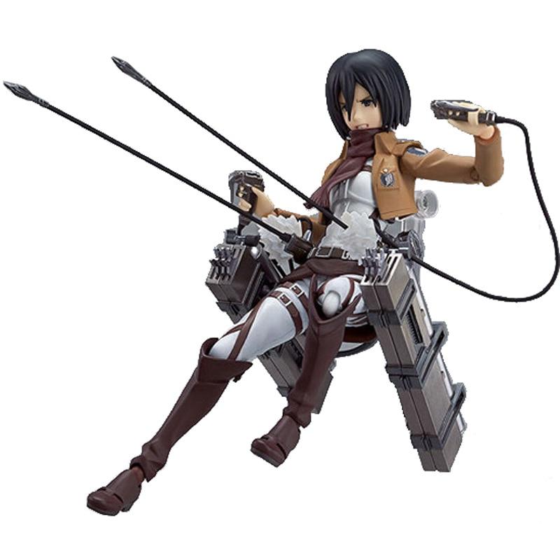 Anime Attack on Titan Figures Eren Jaeger Mikasa Levi Rivaille Ackerman Figma 203 207 213 PVC - Attack On Titan Shop