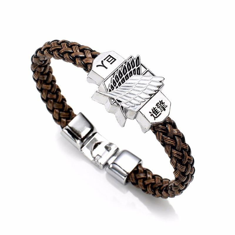 New Fashion Anime Attack On Titan Charm Bracelet Shingeki No Kyojin Cosplay Unisex Leather Bracelets Wristband - Attack On Titan Shop
